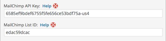 wordpress mailchimp extension api key fields