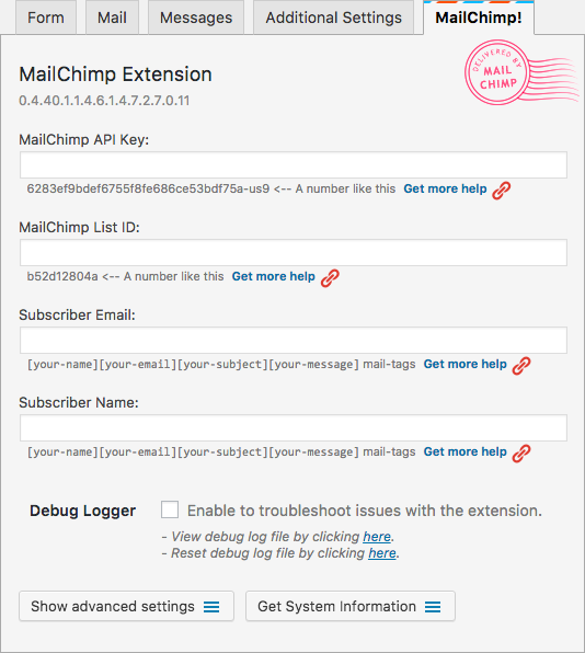 wordpress mailchimp extension empty