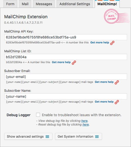 wordpress mailchimp extension filled