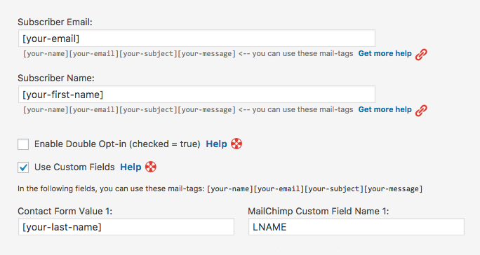 custom fields for mailchimp.com contact form 7 settings